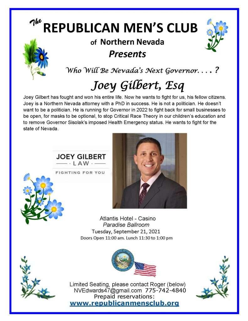 Republican Mens Club Joey Gilbert